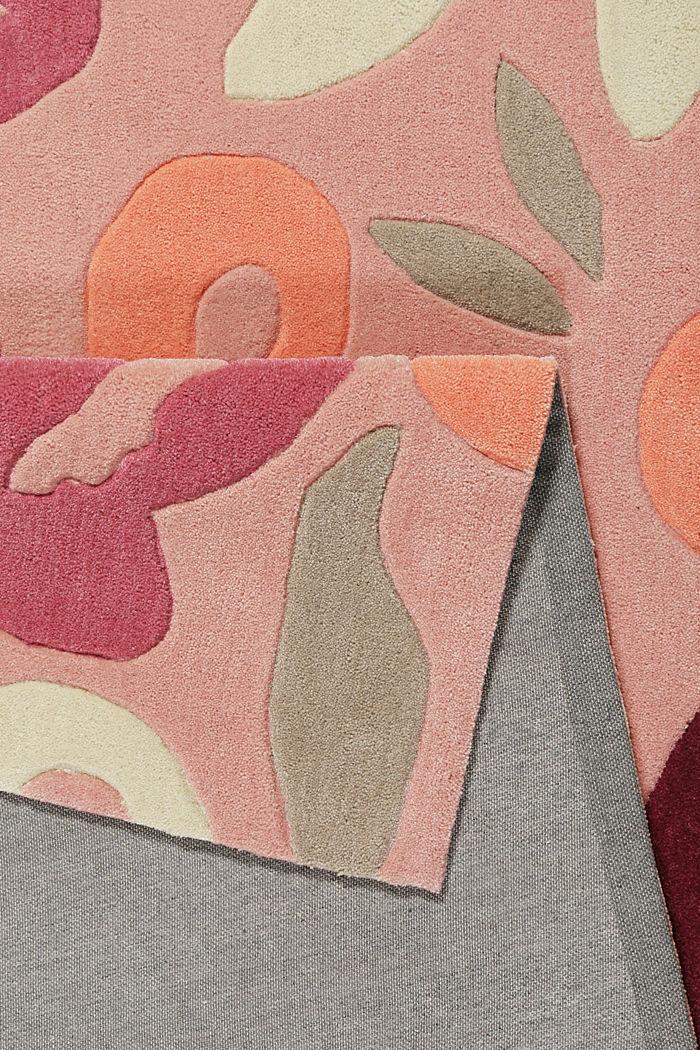 Handgetufteter Kurzflor-Teppich mit Blüten-Muster, PINK, detail image number 2