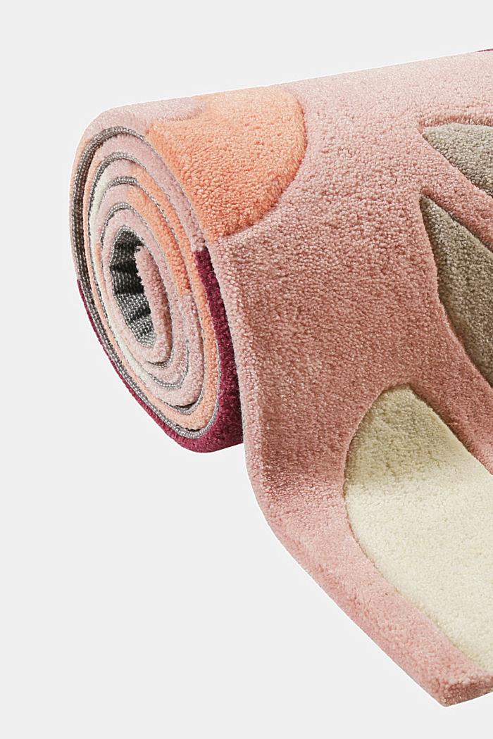 Handgetufteter Kurzflor-Teppich mit Blüten-Muster, PINK, detail image number 3