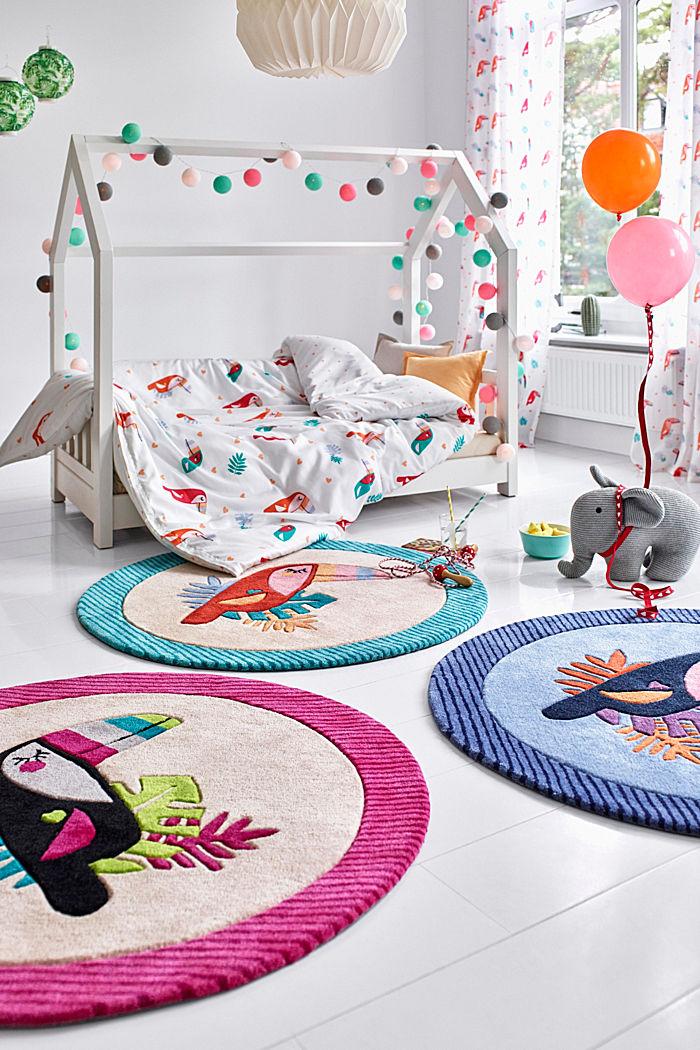 Kinderteppich mit fröhlichem Tukan, TURQUOISE, detail image number 0