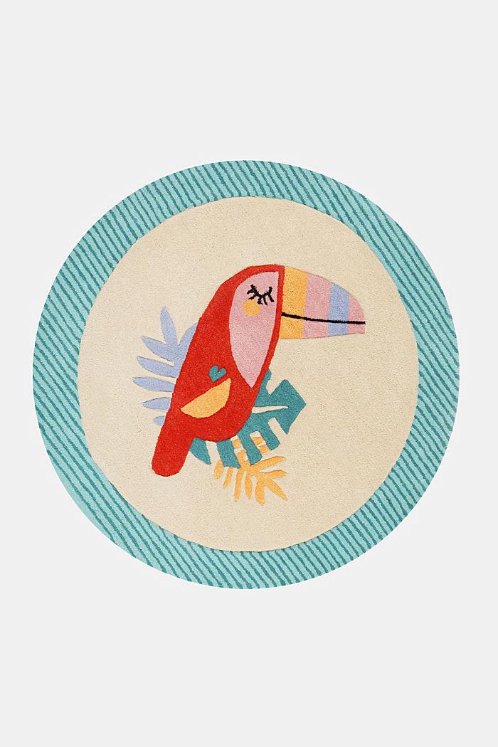 Kinderteppich mit fröhlichem Tukan, TURQUOISE, detail image number 1