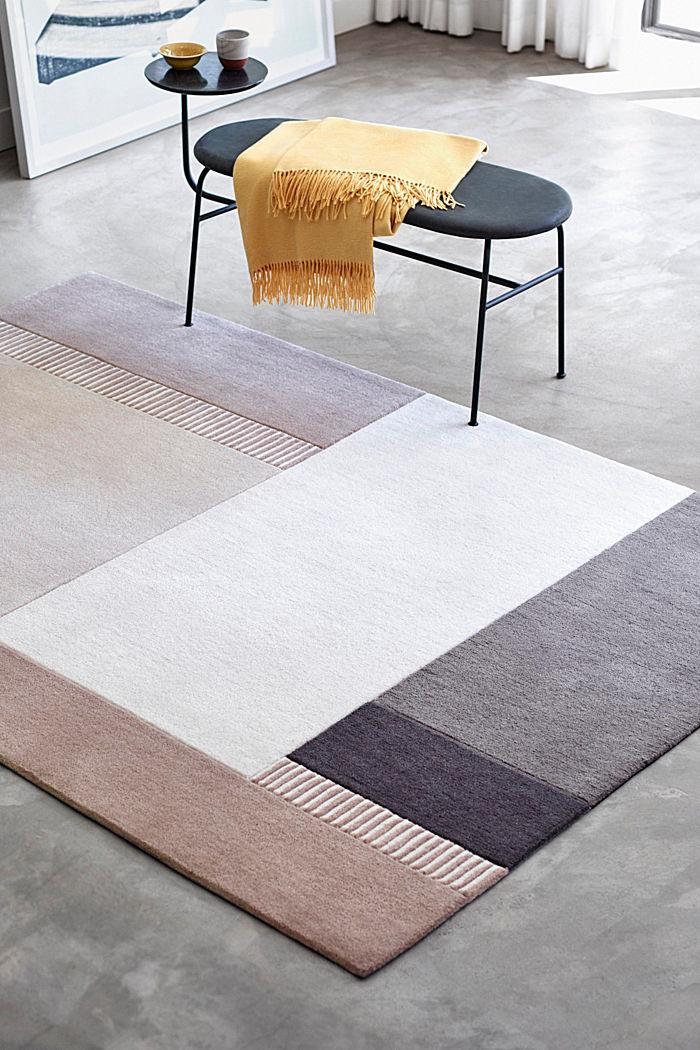 Handgetufteter Teppich mit Konturenschnitt, BEIGE, detail image number 0