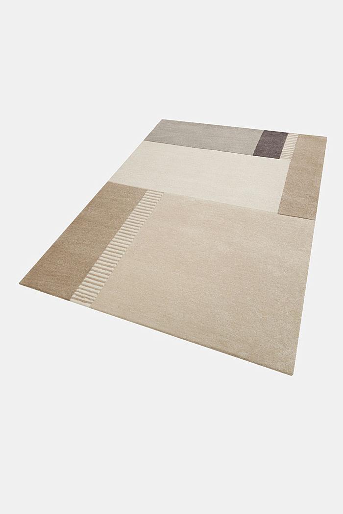 Handgetufteter Teppich mit Konturenschnitt, BEIGE, detail image number 4