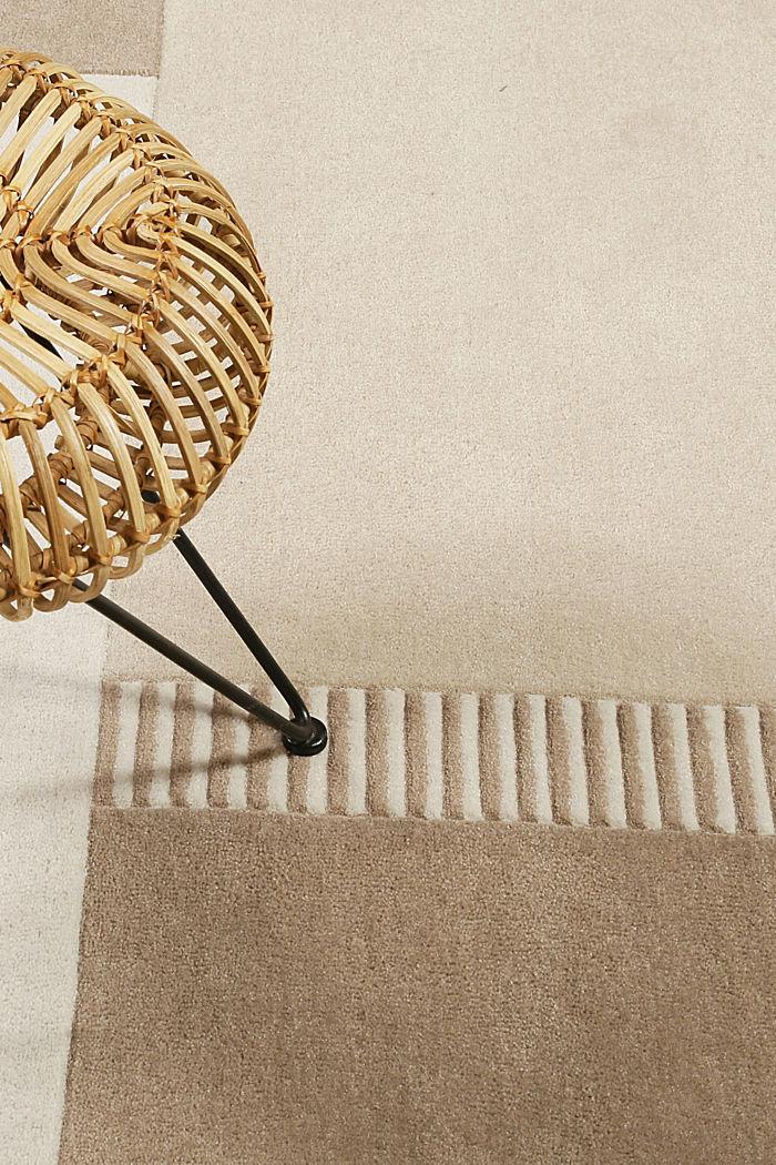 Handgetufteter Teppich mit Konturenschnitt, BEIGE, detail image number 3