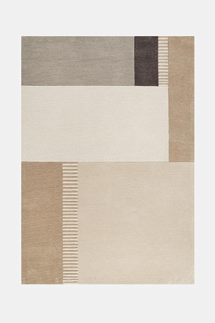 Handgetufteter Teppich mit Konturenschnitt, BEIGE, detail image number 1