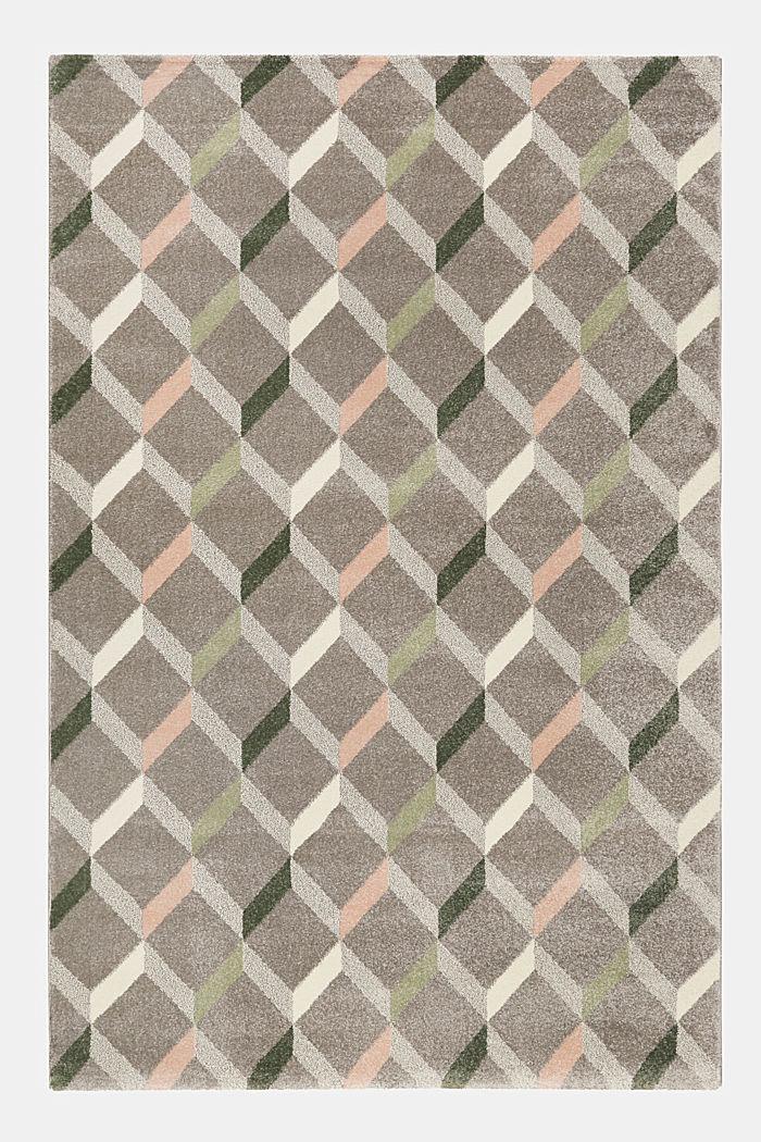Web-Teppich mit dekorativem Rautenmuster, MEDIUM GREY, detail image number 0