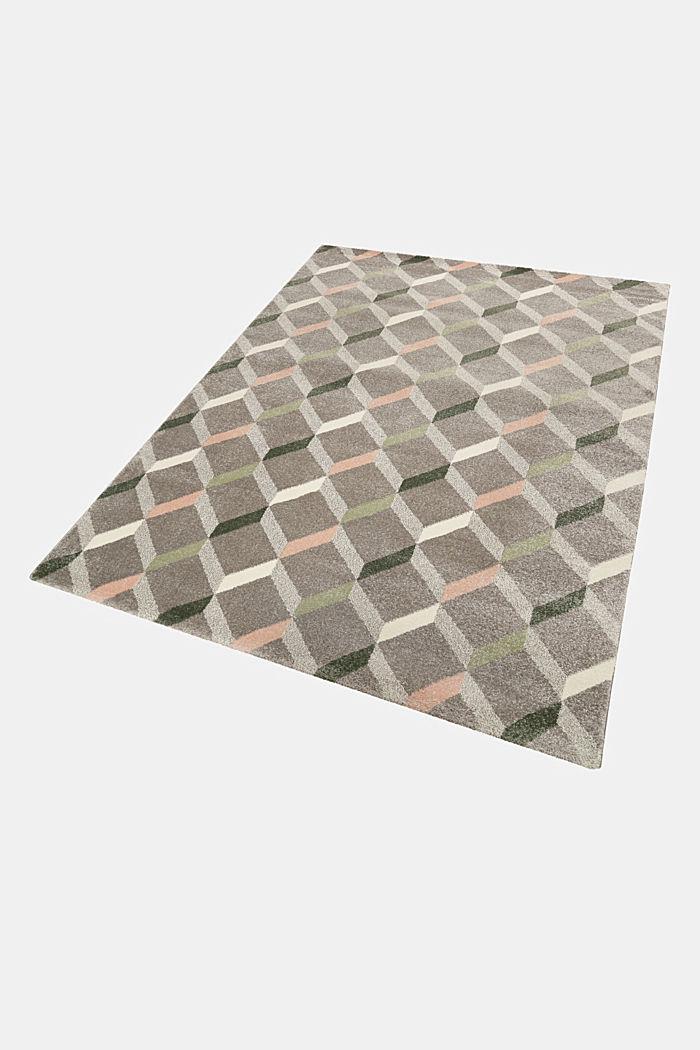 Web-Teppich mit dekorativem Rautenmuster, MEDIUM GREY, detail image number 4