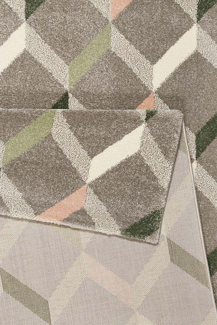 Web-Teppich mit dekorativem Rautenmuster, MEDIUM GREY, detail image number 2