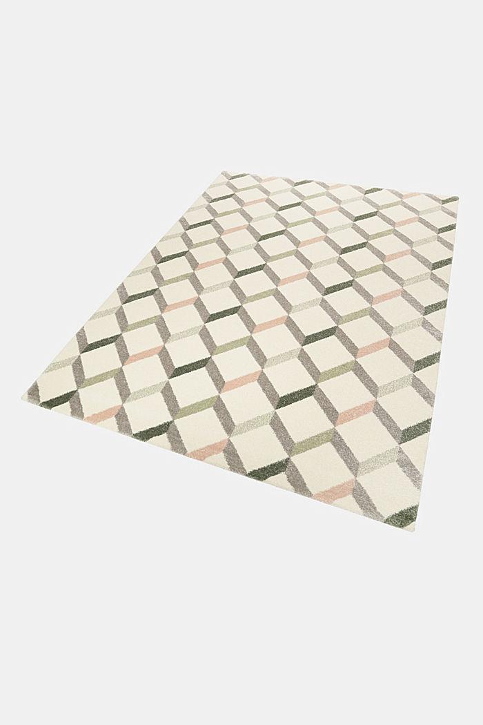 Web-Teppich mit dekorativem Rautenmuster, OLIVE, detail image number 4