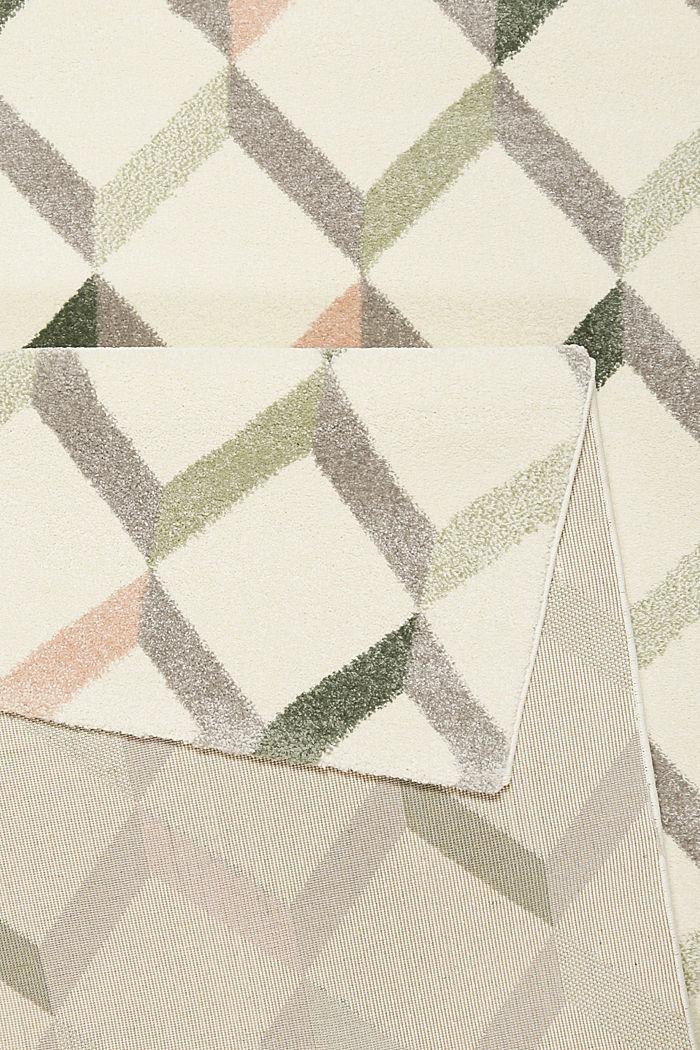Web-Teppich mit dekorativem Rautenmuster, OLIVE, detail image number 2