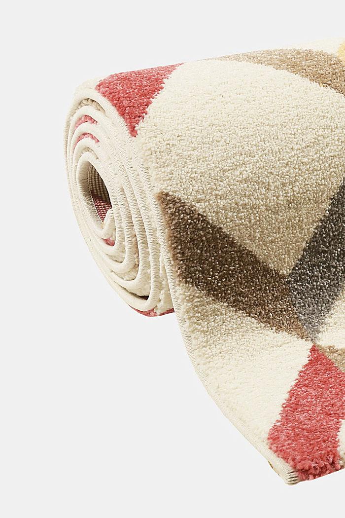 Web-Teppich mit dekorativem Rautenmuster, CHERRY RED, detail image number 5