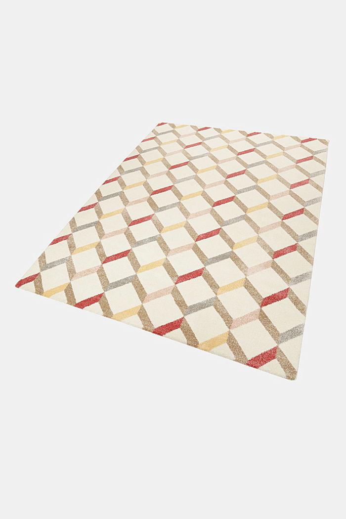 Web-Teppich mit dekorativem Rautenmuster, CHERRY RED, detail image number 4
