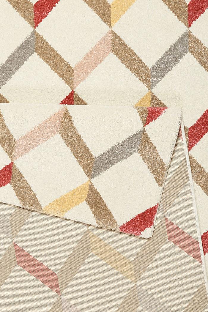 Web-Teppich mit dekorativem Rautenmuster, CHERRY RED, detail image number 2