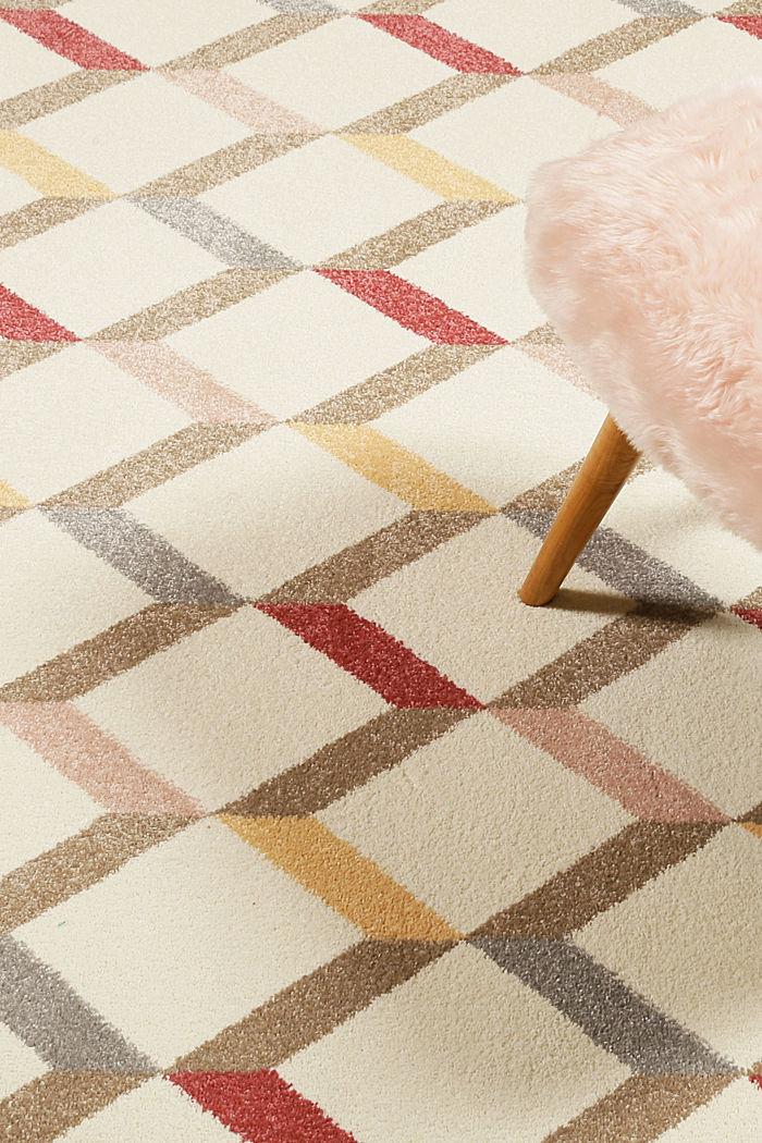Web-Teppich mit dekorativem Rautenmuster, CHERRY RED, detail image number 3