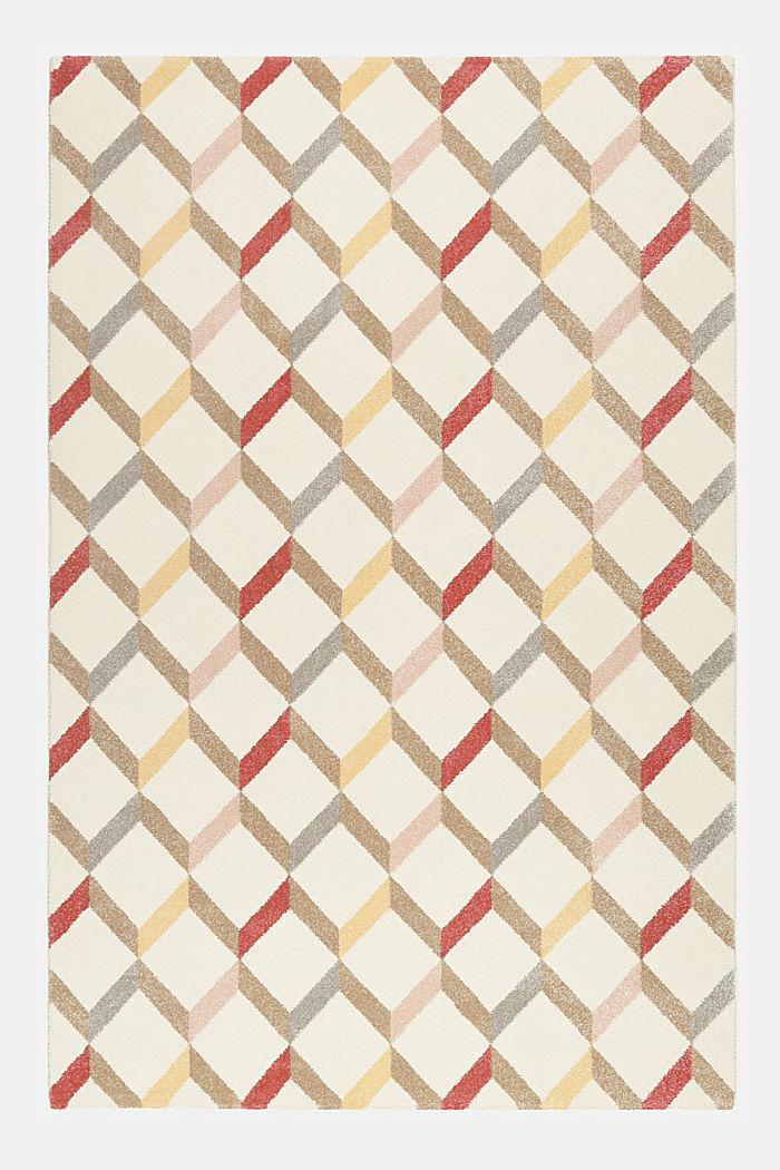 Web-Teppich mit dekorativem Rautenmuster, CHERRY RED, detail image number 1
