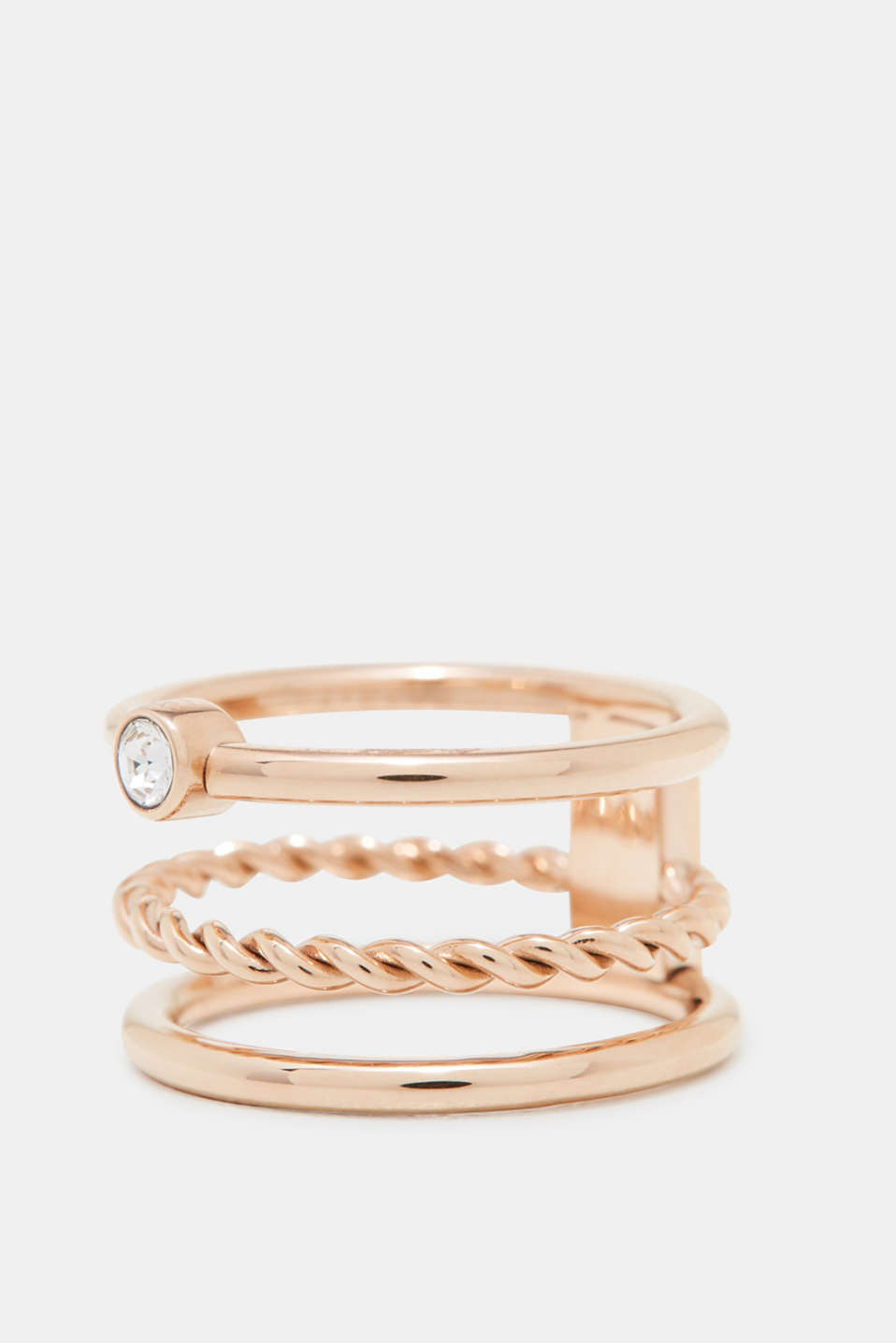 Esprit - Rose gold stainless steel ring with zirconia