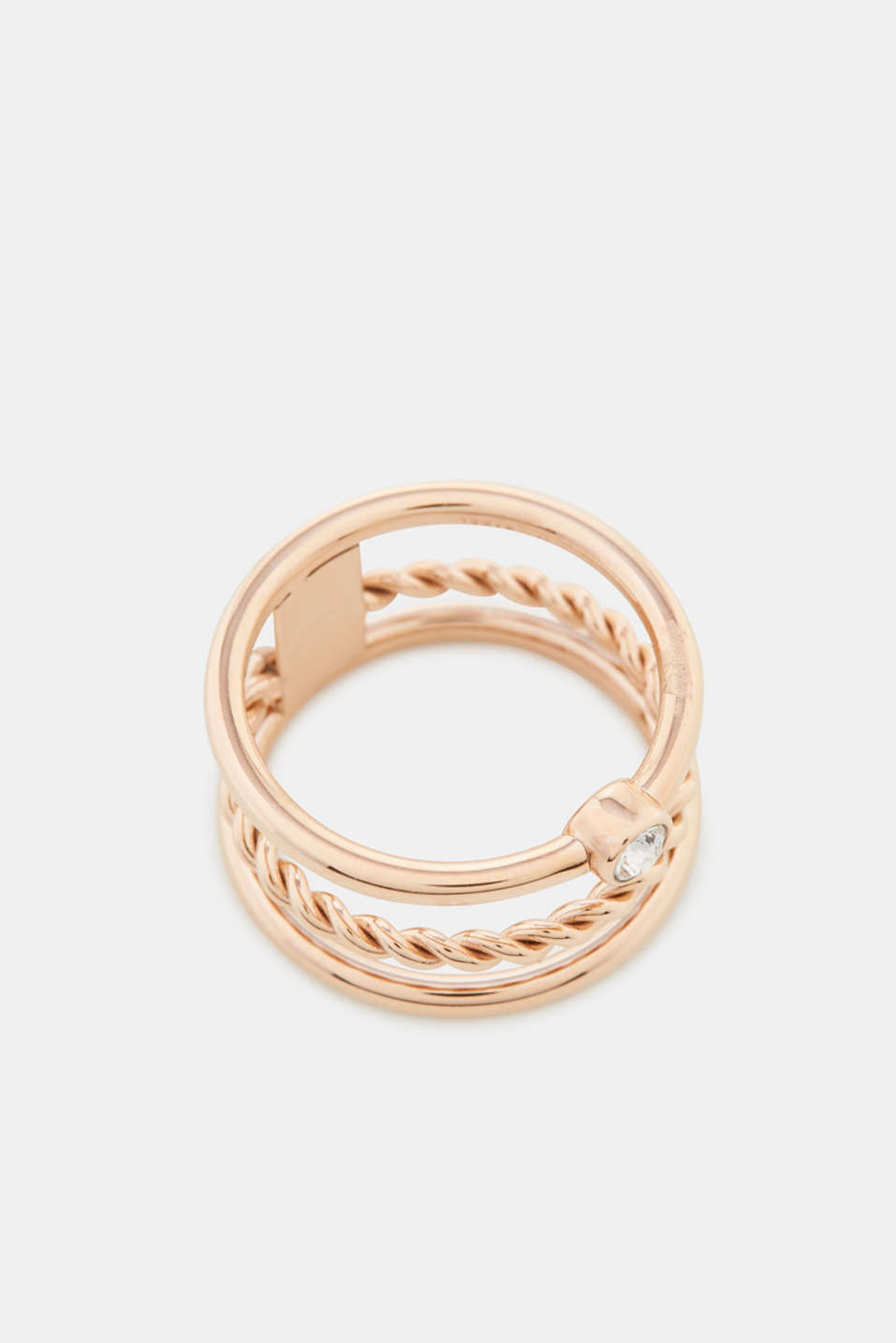Rose gold stainless steel ring with zirconia