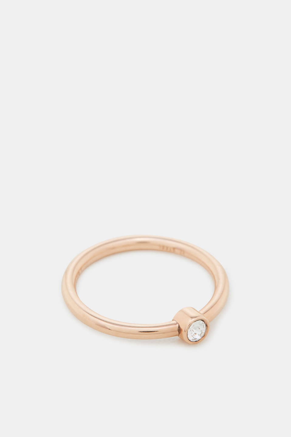 Rose gold ring with zirconia, one colour, detail image number 1