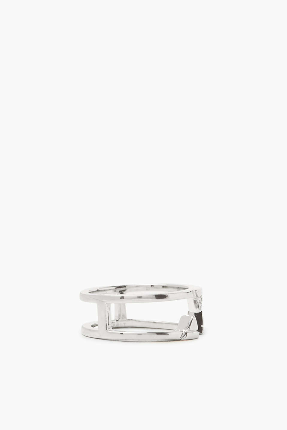 Ring with graphic details, sterling silver