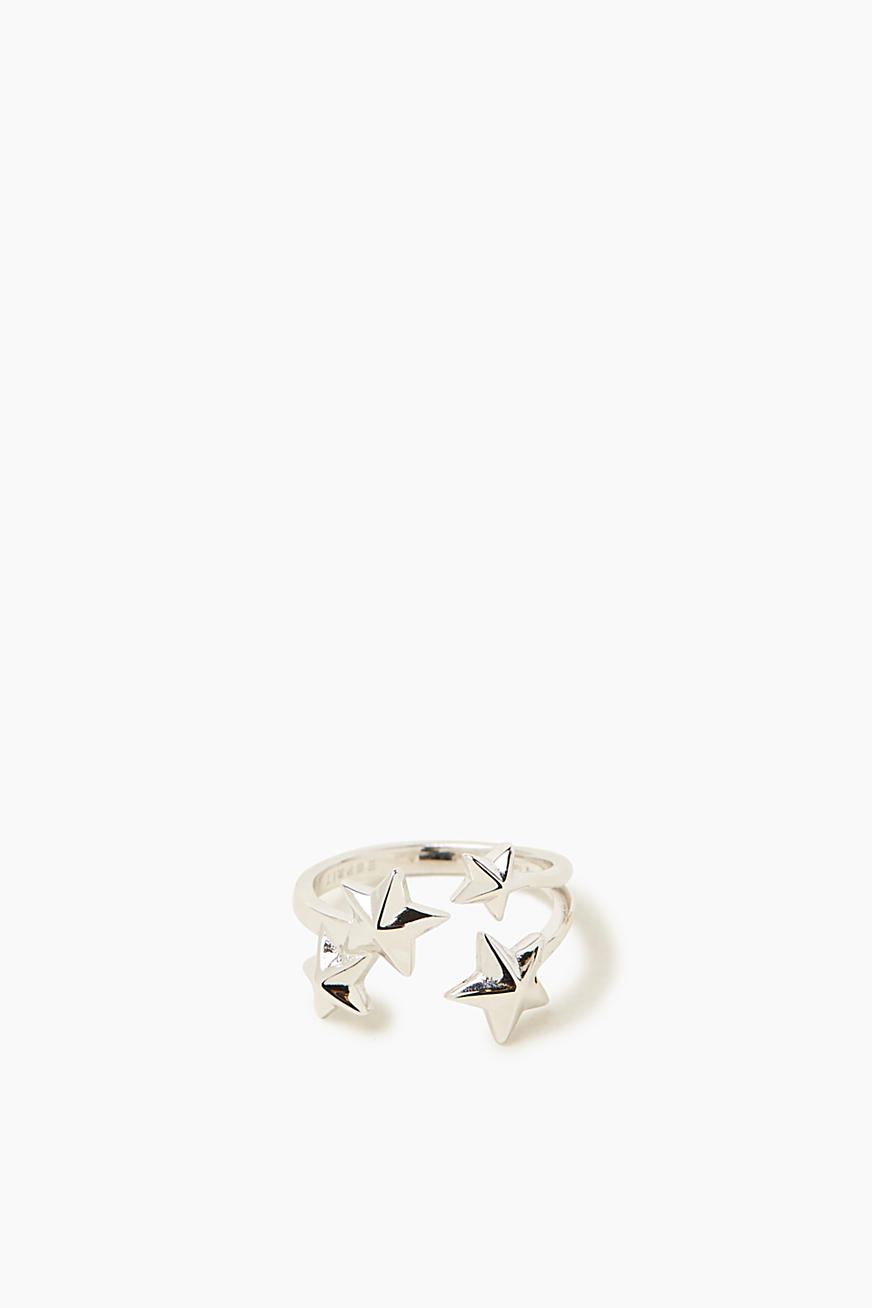 Ring with a decorative star, in sterling silver