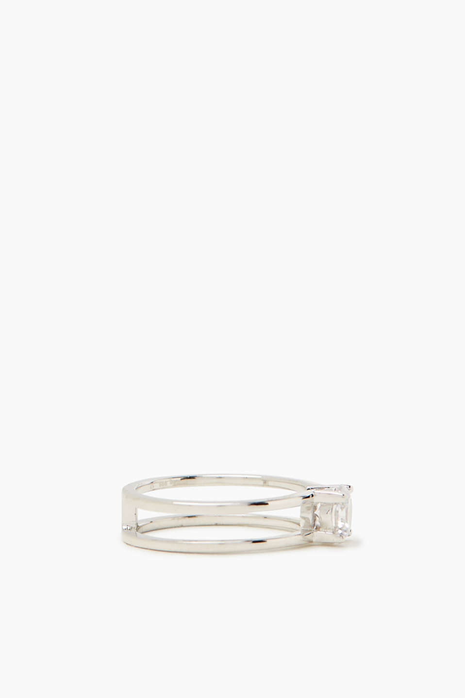 Ring with zirconia, in sterling silver