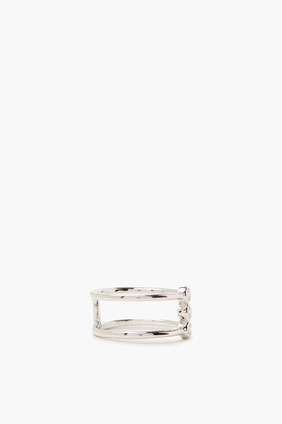 Zirconia-trimmed ring in sterling silver
