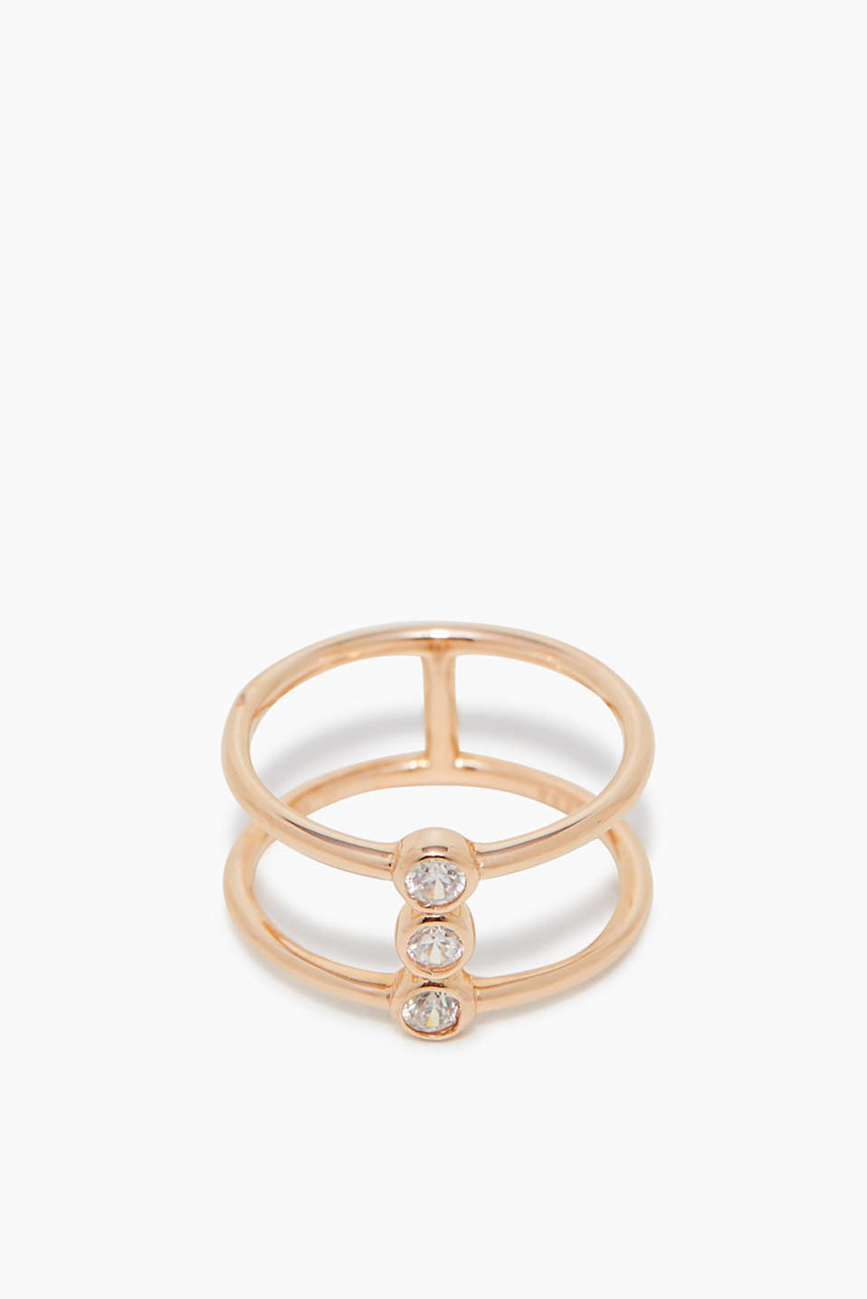 Esprit - Rose gold ring with zirconia, made of silver