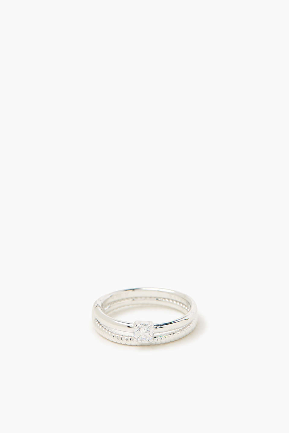 Esprit - Twin ring with zirconia stone, sterling silver