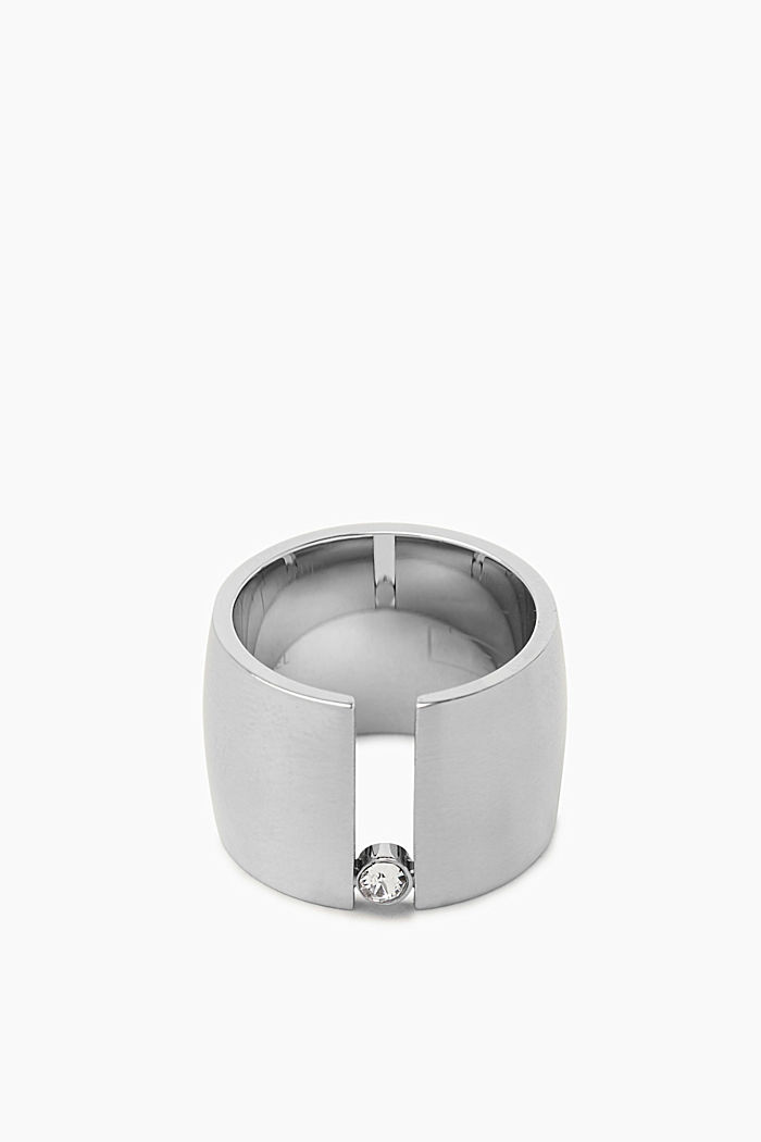 Stainless steel statement ring with zirconia, SILVER, detail image number 0