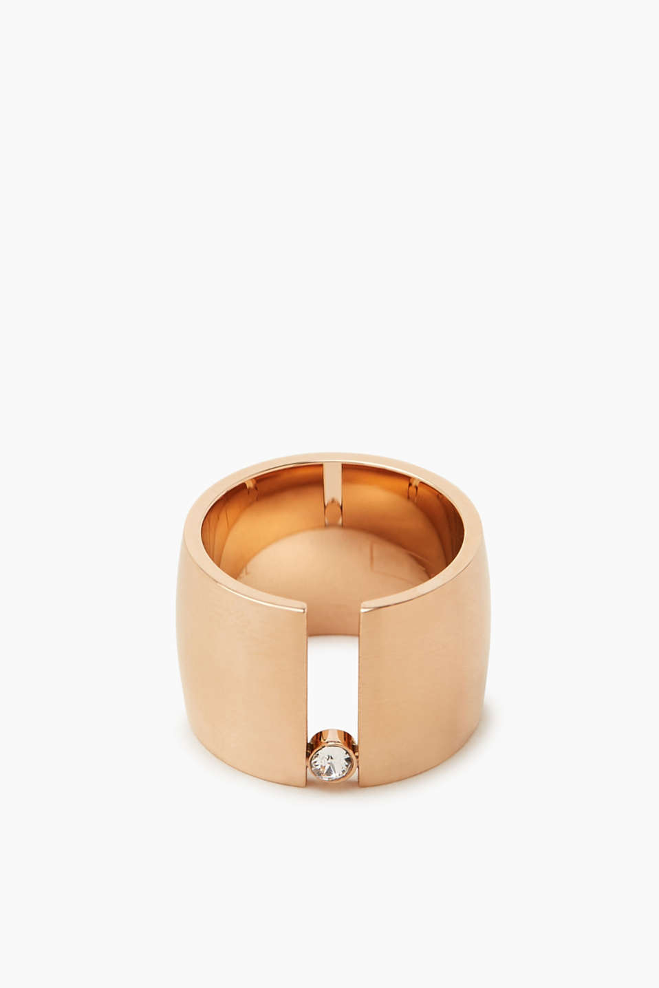 Wide ring with a zirconia stone, one colour, detail image number 0
