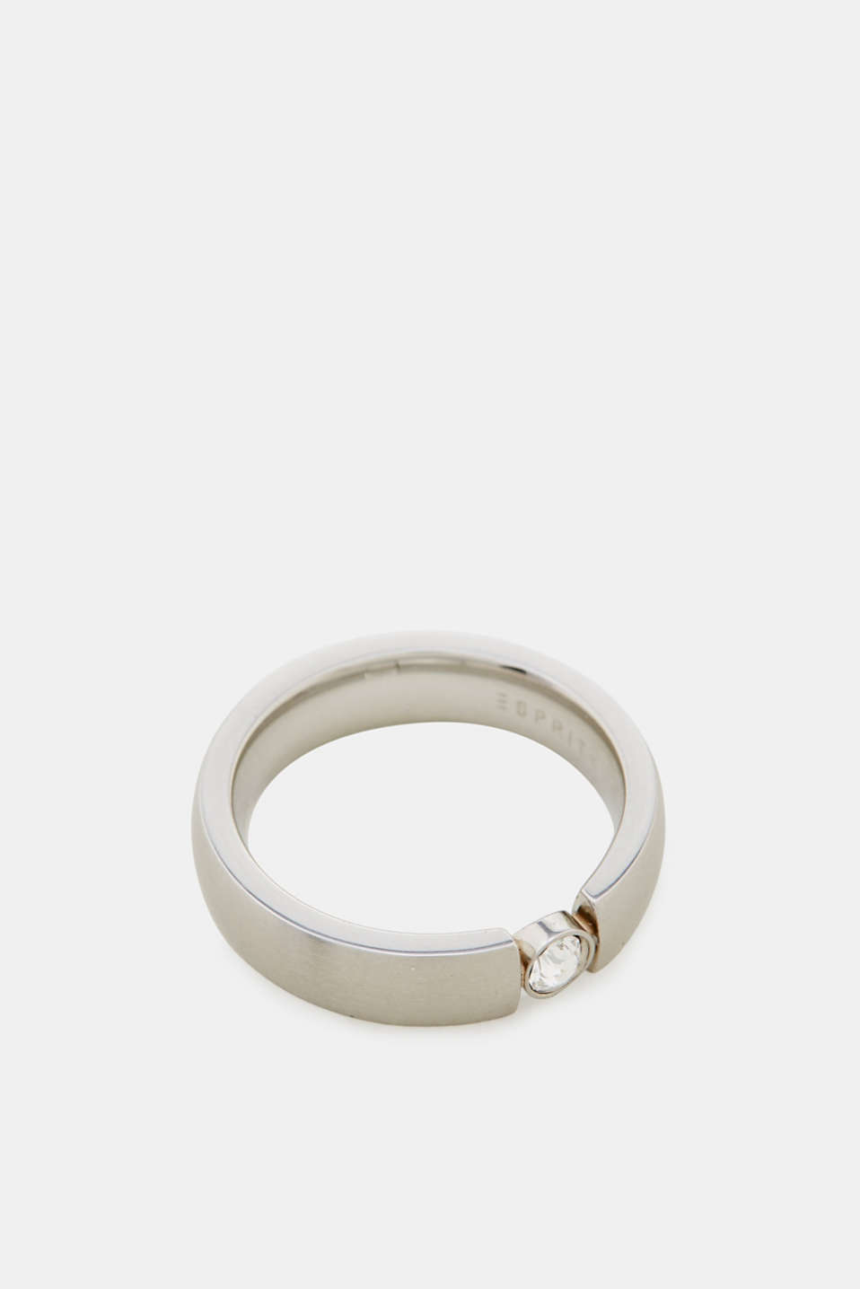 Timeless stainless steel ring with zirconia