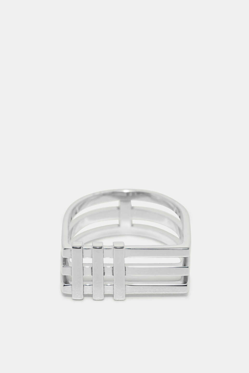Modern lines meet exciting Art Deco inspiration: silver tone ring, in stainless steel