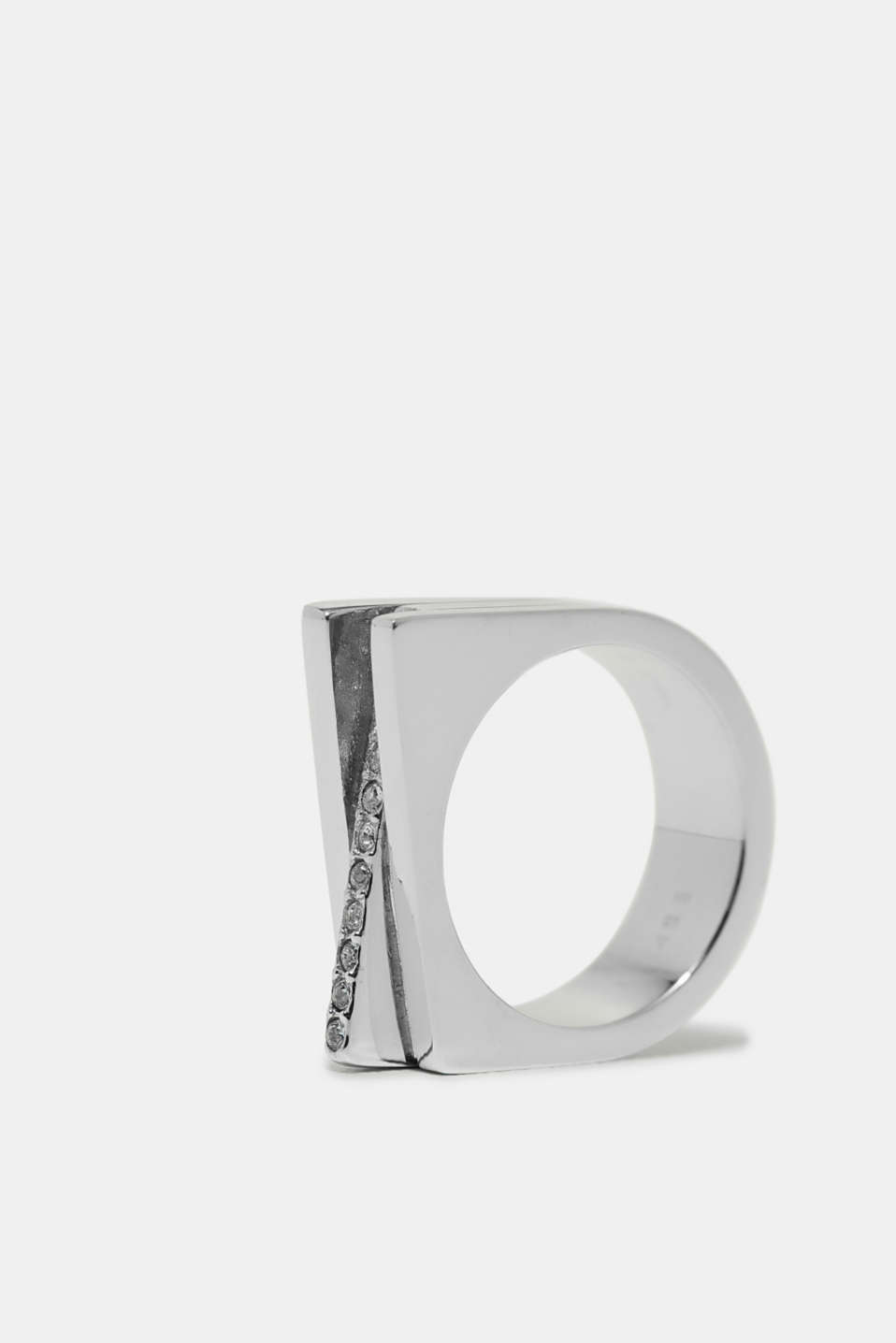 Esprit - Stainless steel statement ring with zirconia