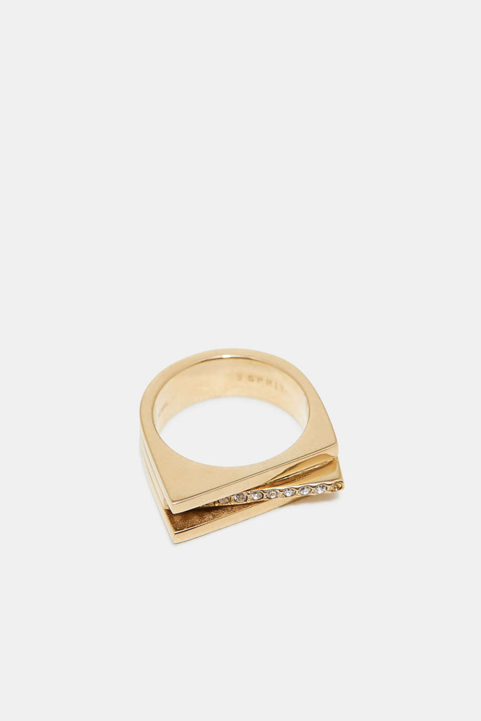 Esprit - Zirconia-trim stainless-steel statement ring
