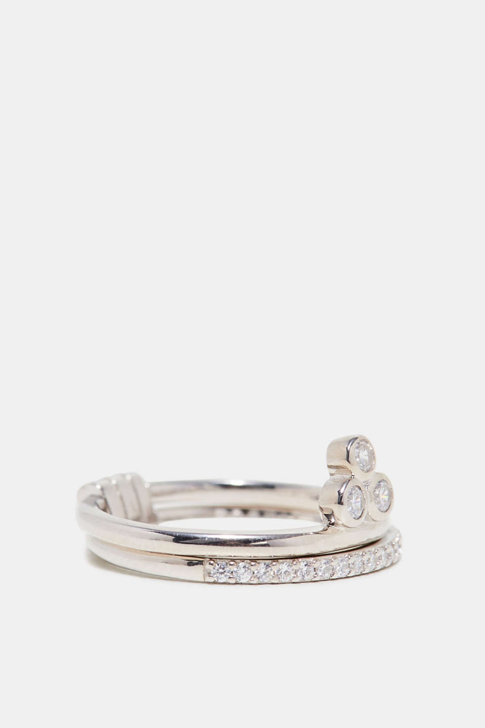 Esprit - Twin ring with a zirconia stone, sterling silver
