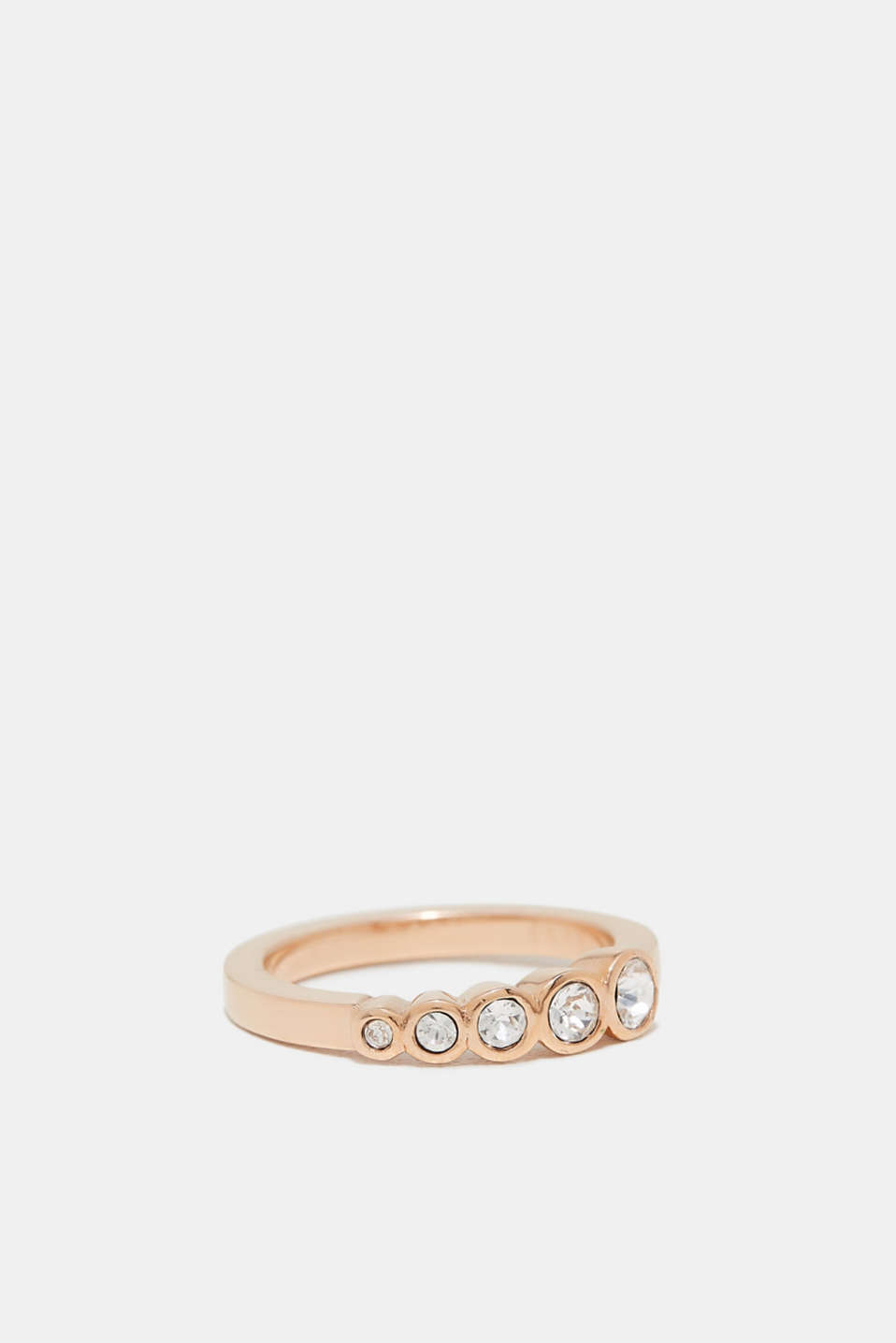 Rose gold ring with decorative zirconia