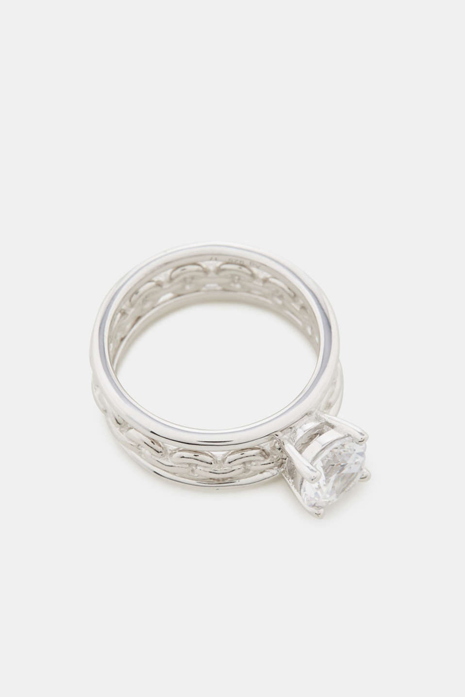 Ring set with zirconia, in sterling silver