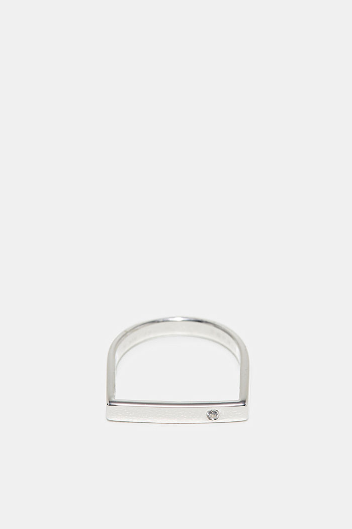 Ring with zirconia, in sterling silver, SILVER, detail image number 0
