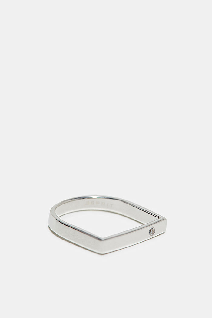 Ring with zirconia, in sterling silver, SILVER, detail image number 1