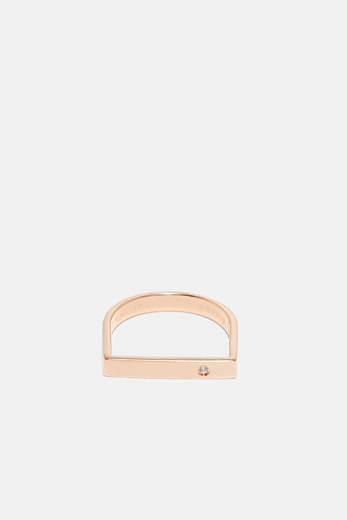 Ring with zirconia, in sterling silver, ROSEGOLD, detail image number 0