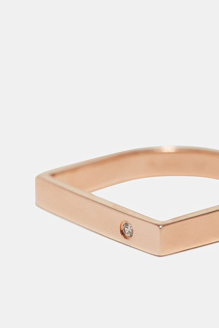 Ring with zirconia, in sterling silver, ROSEGOLD, detail image number 1