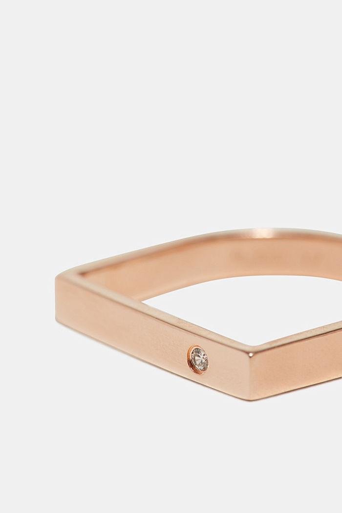 Ring mit Zirkonia, aus Sterling Silber, ROSEGOLD, detail image number 1