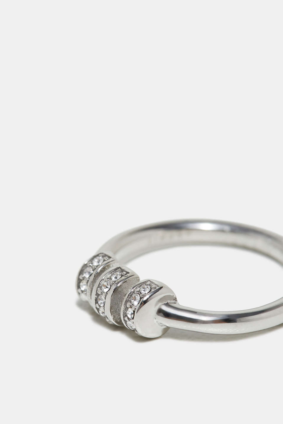 Ring with zirconia, in stainless steel, one colour, detail image number 1