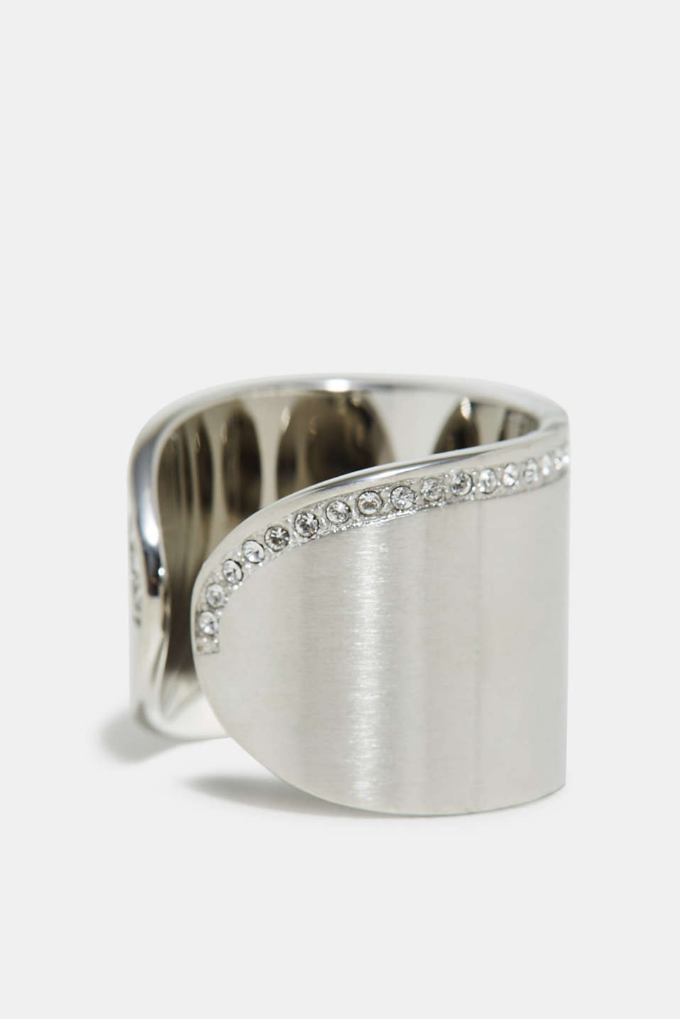 Statement ring with zirconia, made of stainless steel, one colour, detail image number 1