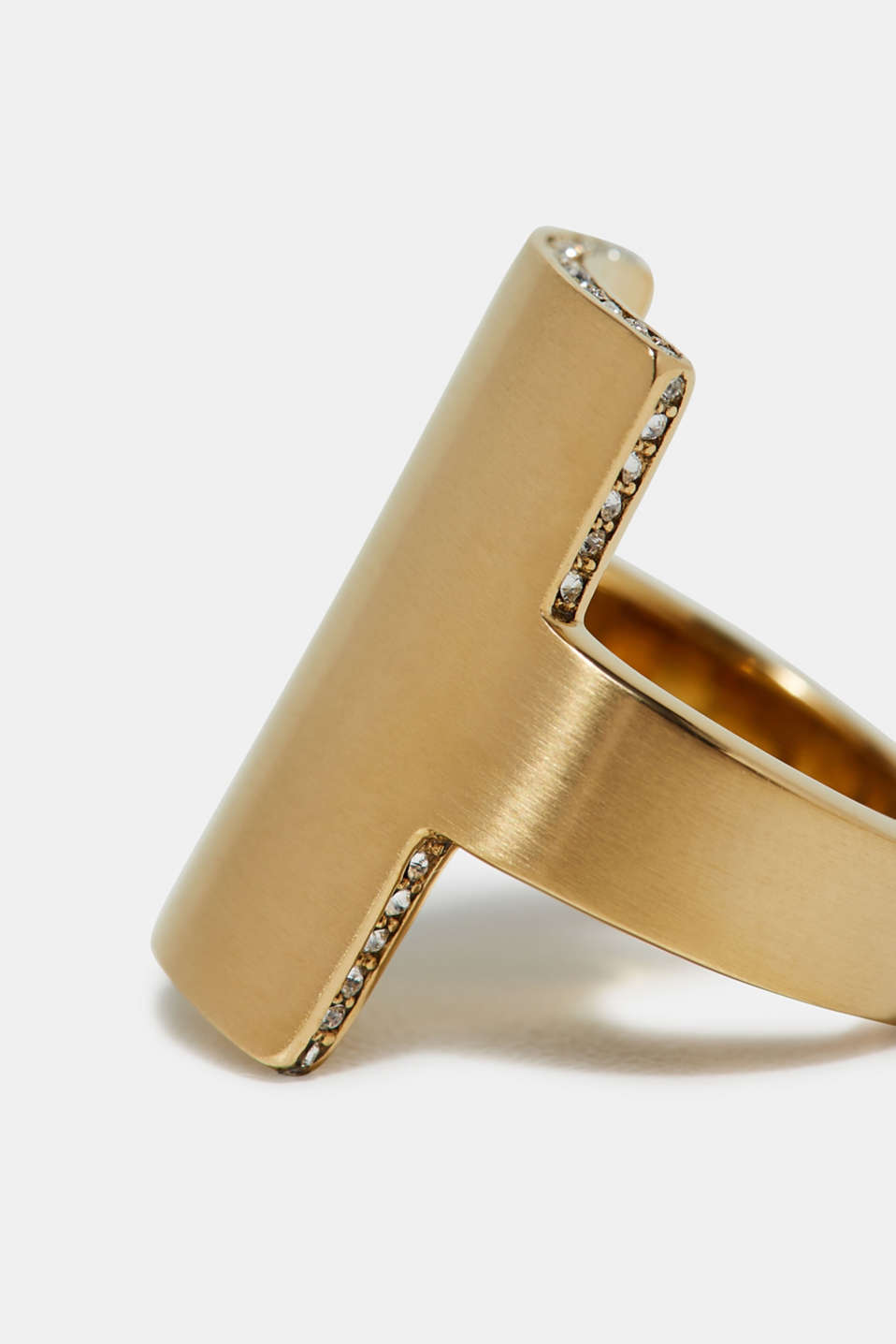 Yellow gold tone statement ring, made of stainless steel, one colour, detail image number 1