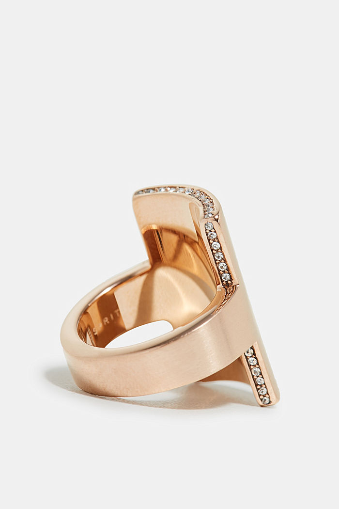 Rose gold statement ring in stainless steel