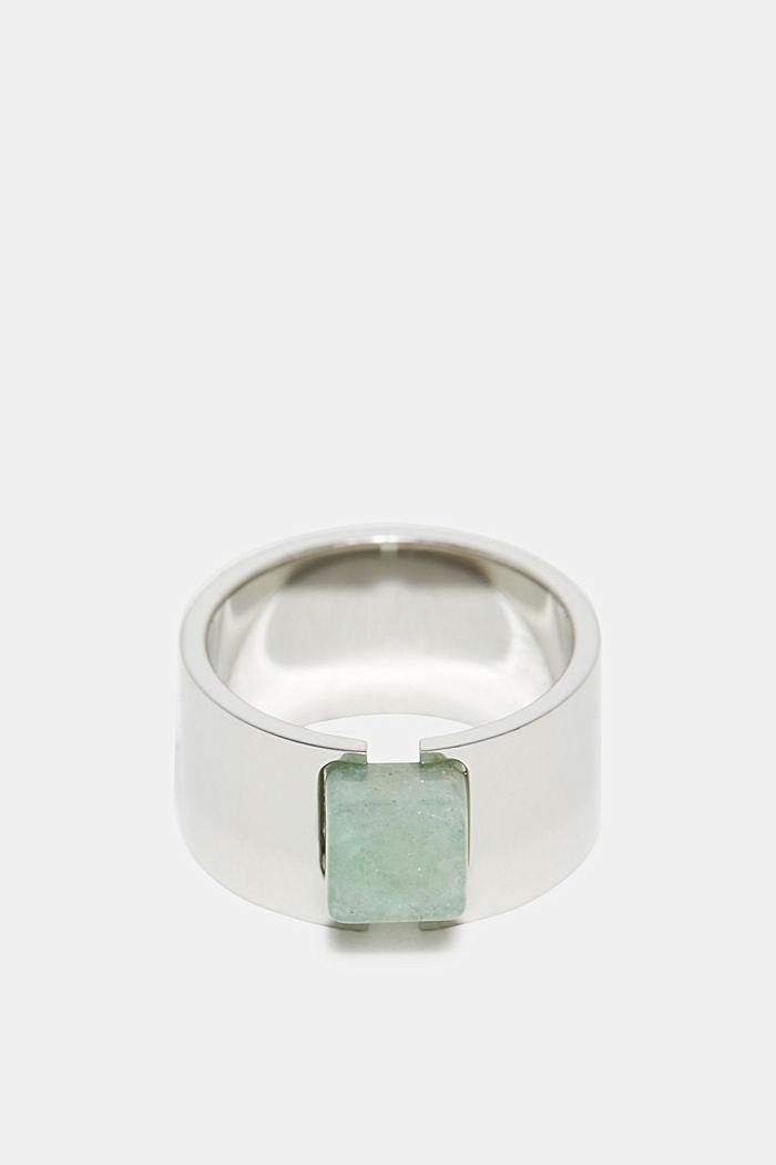 Edelstalen ring met steen met jadelook, SILVER, detail image number 0