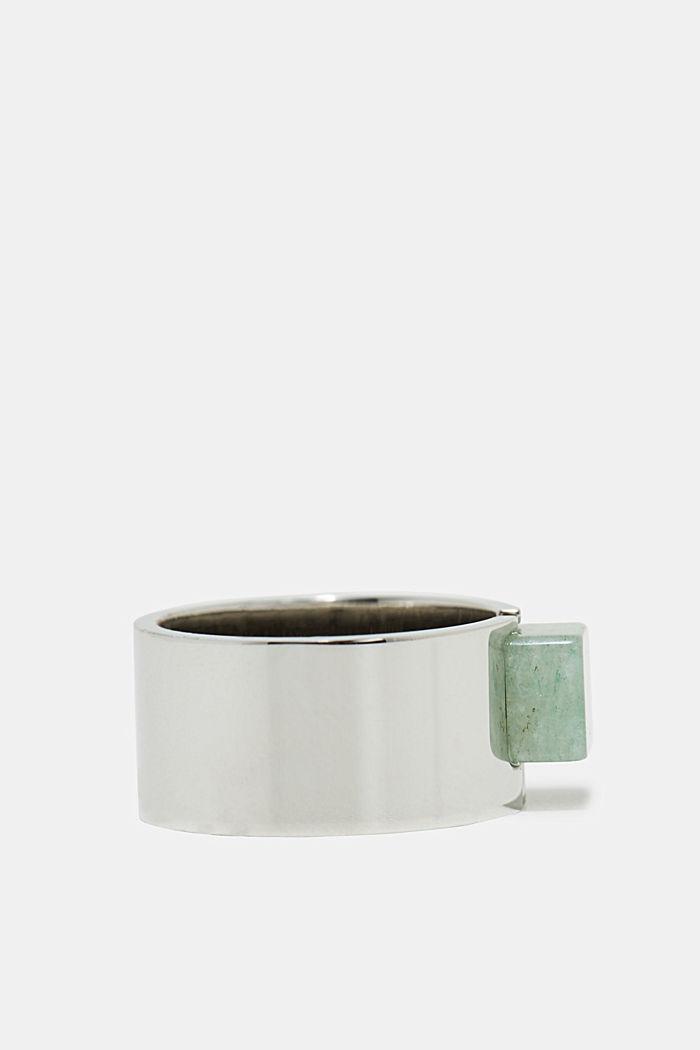 Edelstalen ring met steen met jadelook, SILVER, detail image number 1