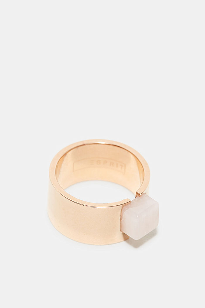 Stainless steel ring with a marble look gemstone, ROSEGOLD, detail image number 1