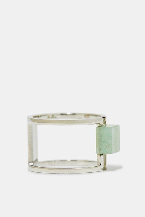 Statement gemstone ring in stainless steel