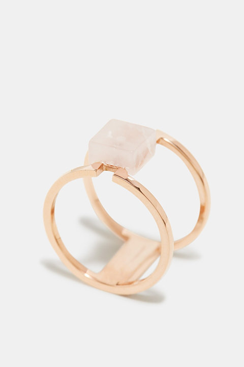 Stainless steel ring with a marble look gemstone